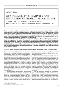 Sustainability, creativity and innovation in project